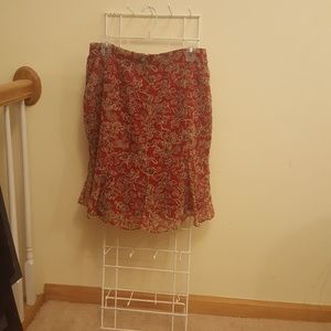 Kathie Lee Red Multi-Colored Print Skirt